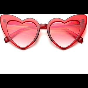 Clear Red Oversized Heart-Shaped Sunglasses